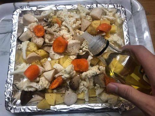 加入調味,橄欖油