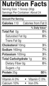 Dymatize ISO 100乳清蛋白的營養量