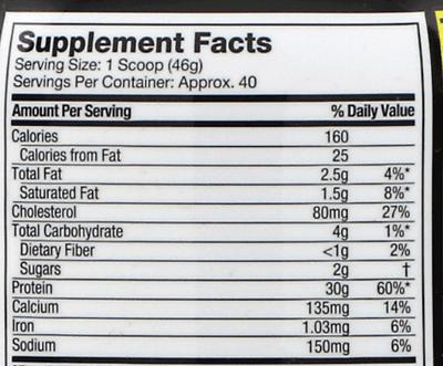 MuscleTech Nitro-Tech乳清蛋白的營養成分