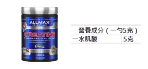 ALLMAX 肌酸粉營養成分表