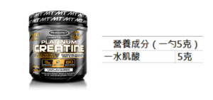 Muscletech 白金肌酸營養成分表