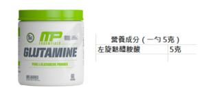 MusclePharm Glutamine 營養成份表